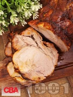Маринован шпикован свински врат с мед и горчица печен на фурна - снимка на рецептата